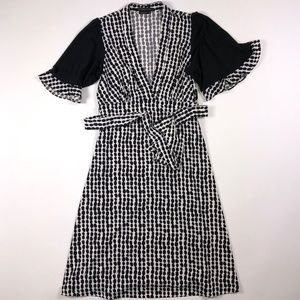 BCBG Maxazria Black White Polka Dot Dress